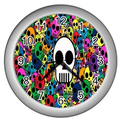 Skull Background Bright Multi Colored Wall Clocks (silver)  by Simbadda