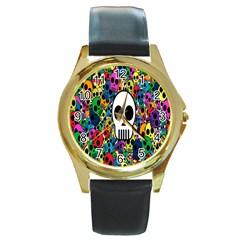 Skull Background Bright Multi Colored Round Gold Metal Watch by Simbadda