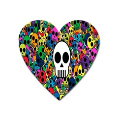 Skull Background Bright Multi Colored Heart Magnet by Simbadda