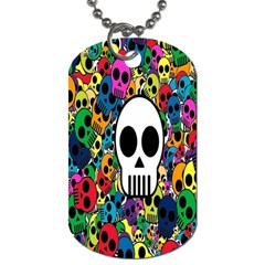 Skull Background Bright Multi Colored Dog Tag (one Side) by Simbadda
