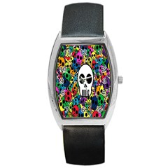Skull Background Bright Multi Colored Barrel Style Metal Watch by Simbadda