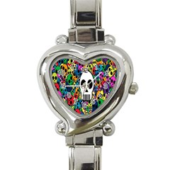 Skull Background Bright Multi Colored Heart Italian Charm Watch by Simbadda