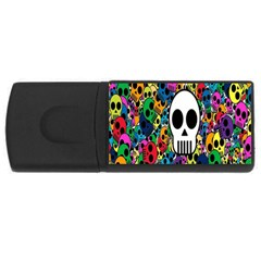 Skull Background Bright Multi Colored Usb Flash Drive Rectangular (4 Gb) by Simbadda