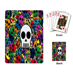 Skull Background Bright Multi Colored Playing Card by Simbadda