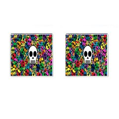 Skull Background Bright Multi Colored Cufflinks (square) by Simbadda
