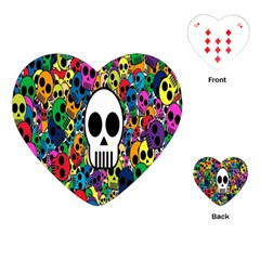 Skull Background Bright Multi Colored Playing Cards (heart)  by Simbadda