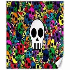 Skull Background Bright Multi Colored Canvas 20  X 24   by Simbadda