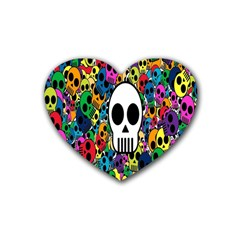 Skull Background Bright Multi Colored Heart Coaster (4 Pack)  by Simbadda