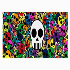 Skull Background Bright Multi Colored Large Glasses Cloth (2 Side) by Simbadda