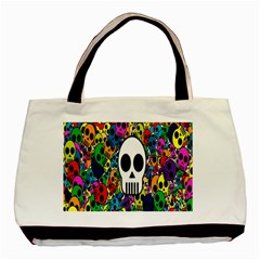 Skull Background Bright Multi Colored Basic Tote Bag (two Sides) by Simbadda
