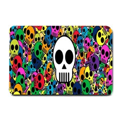 Skull Background Bright Multi Colored Small Doormat  by Simbadda