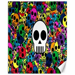 Skull Background Bright Multi Colored Canvas 11  X 14   by Simbadda