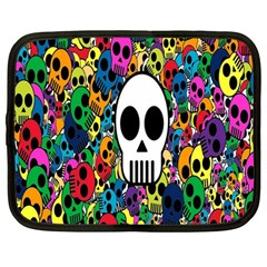 Skull Background Bright Multi Colored Netbook Case (large) by Simbadda