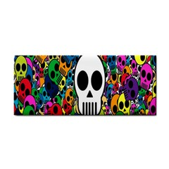 Skull Background Bright Multi Colored Cosmetic Storage Cases by Simbadda