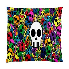 Skull Background Bright Multi Colored Standard Cushion Case (two Sides) by Simbadda