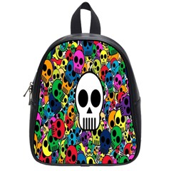 Skull Background Bright Multi Colored School Bags (small)  by Simbadda