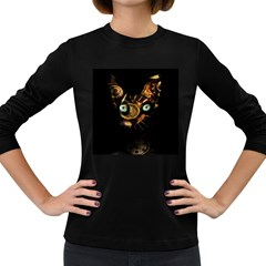 Sphynx Cat Women s Long Sleeve Dark T Shirts by Valentinaart