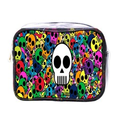 Skull Background Bright Multi Colored Mini Toiletries Bags by Simbadda