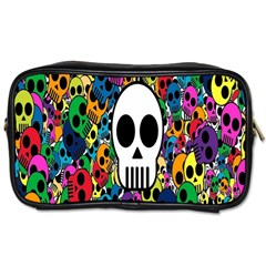 Skull Background Bright Multi Colored Toiletries Bags 2 Side by Simbadda