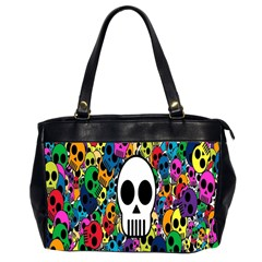 Skull Background Bright Multi Colored Office Handbags (2 Sides)  by Simbadda