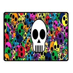 Skull Background Bright Multi Colored Fleece Blanket (small) by Simbadda