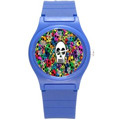 Skull Background Bright Multi Colored Round Plastic Sport Watch (s) by Simbadda