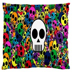 Skull Background Bright Multi Colored Large Cushion Case (two Sides) by Simbadda