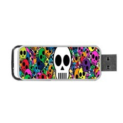 Skull Background Bright Multi Colored Portable Usb Flash (one Side) by Simbadda