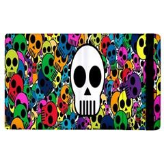 Skull Background Bright Multi Colored Apple Ipad 3/4 Flip Case by Simbadda