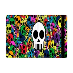 Skull Background Bright Multi Colored Apple Ipad Mini Flip Case by Simbadda