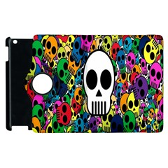 Skull Background Bright Multi Colored Apple Ipad 3/4 Flip 360 Case by Simbadda