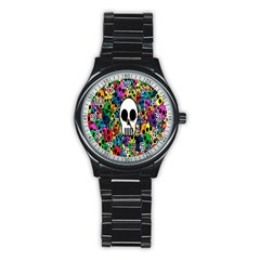 Skull Background Bright Multi Colored Stainless Steel Round Watch by Simbadda