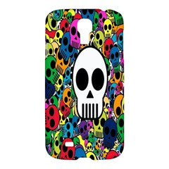 Skull Background Bright Multi Colored Samsung Galaxy S4 I9500/i9505 Hardshell Case by Simbadda