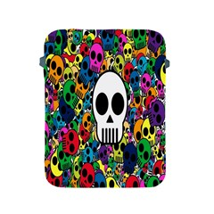 Skull Background Bright Multi Colored Apple Ipad 2/3/4 Protective Soft Cases by Simbadda