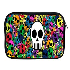 Skull Background Bright Multi Colored Apple Ipad 2/3/4 Zipper Cases by Simbadda