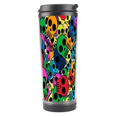 Skull Background Bright Multi Colored Travel Tumbler by Simbadda