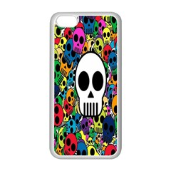 Skull Background Bright Multi Colored Apple Iphone 5c Seamless Case (white) by Simbadda
