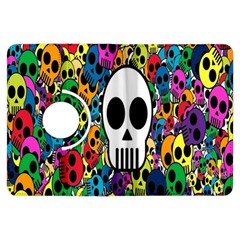 Skull Background Bright Multi Colored Kindle Fire Hdx Flip 360 Case by Simbadda