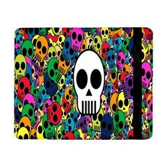 Skull Background Bright Multi Colored Samsung Galaxy Tab Pro 8 4  Flip Case by Simbadda