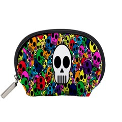 Skull Background Bright Multi Colored Accessory Pouches (small)  by Simbadda