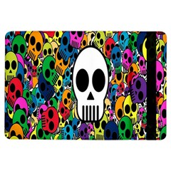Skull Background Bright Multi Colored Ipad Air Flip by Simbadda