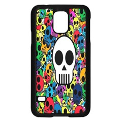 Skull Background Bright Multi Colored Samsung Galaxy S5 Case (black) by Simbadda