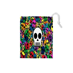 Skull Background Bright Multi Colored Drawstring Pouches (small)  by Simbadda
