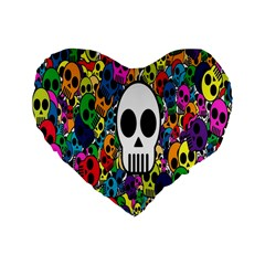 Skull Background Bright Multi Colored Standard 16  Premium Flano Heart Shape Cushions by Simbadda