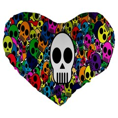 Skull Background Bright Multi Colored Large 19  Premium Flano Heart Shape Cushions by Simbadda