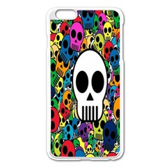 Skull Background Bright Multi Colored Apple Iphone 6 Plus/6s Plus Enamel White Case by Simbadda