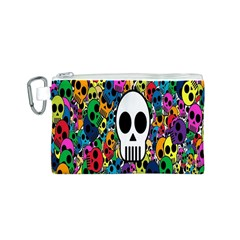 Skull Background Bright Multi Colored Canvas Cosmetic Bag (s) by Simbadda