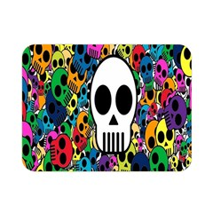 Skull Background Bright Multi Colored Double Sided Flano Blanket (mini)  by Simbadda