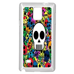 Skull Background Bright Multi Colored Samsung Galaxy Note 4 Case (white)