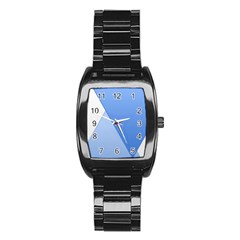 Stripes Lines Texture Stainless Steel Barrel Watch by Simbadda